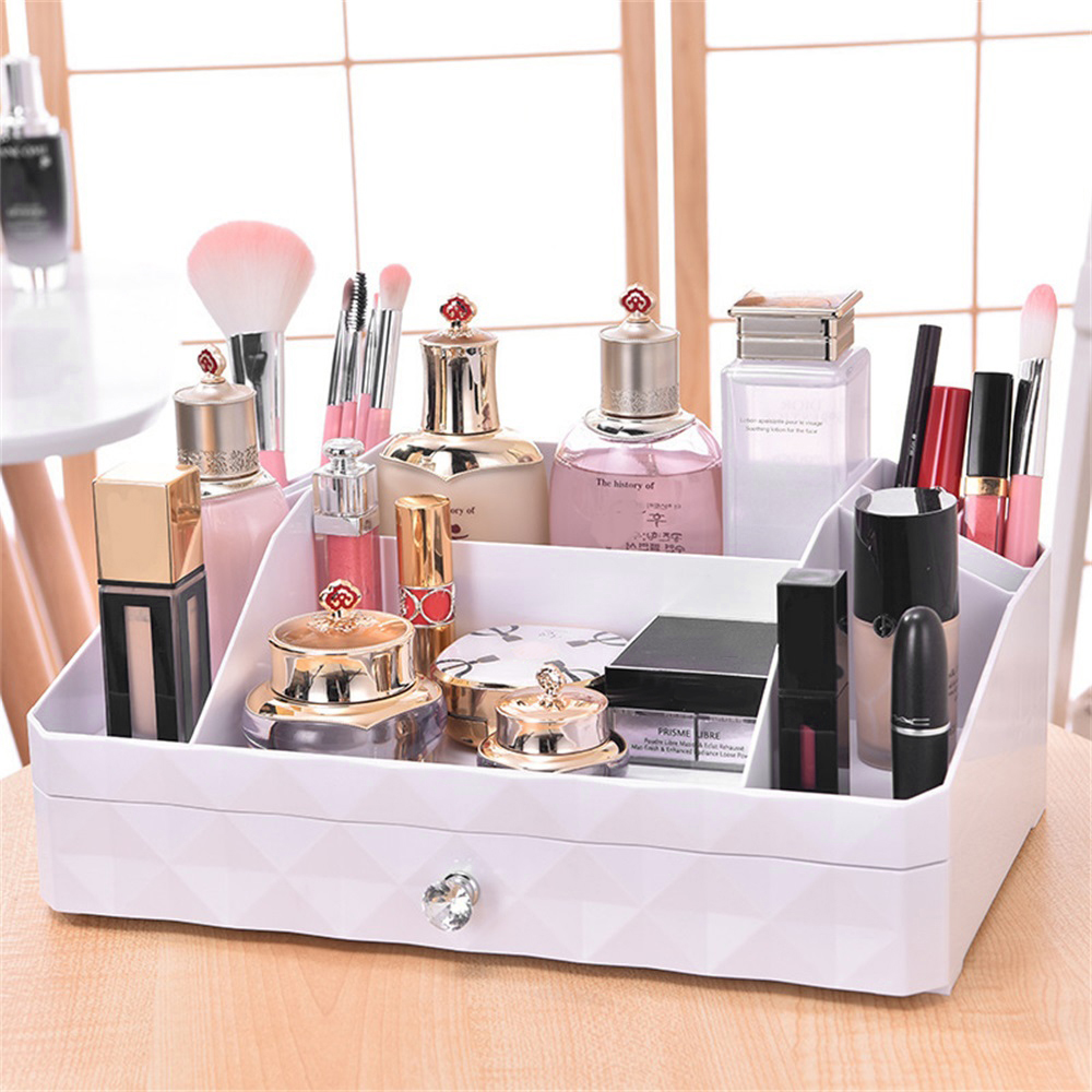 Cosmetic Jewelry Organizer Office Storage Drawer Desk Makeup Case Plastic Makeup Brush Box Lipstick Remote Control Holder free shipping wooden tool box desk storage drawer debris cosmetic storage box bin jewelry case office creative gift home
