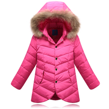 Factory Outlet!!! 2016 autumn and winter Children Long down Coat,Girls Down jacket Coats Big Fur Collar kids winter Outerwear