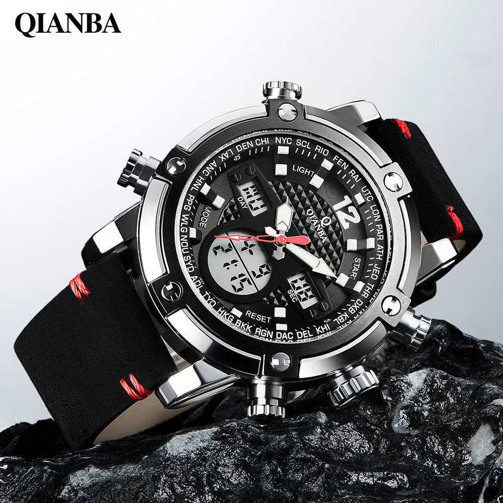 все цены на  Men new top luxury brand casual fashion sport led dual time digital chronograph military analog quartz watches relogio masculino  онлайн