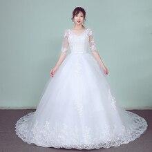 EZKUNTZA Lace Embroidery Half Sleeve 2019 Wedding Dresses Long Train Wedding Gown V Neck Elegant Plus Size Vestido De Noiva
