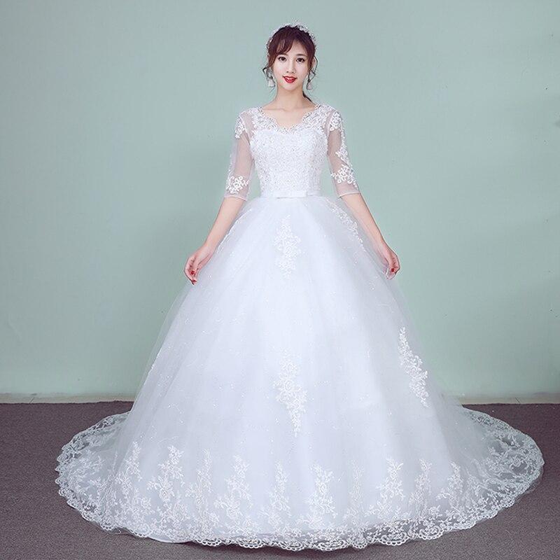 Fazer Dower Lace Bordados Meia Manga 2019 Vestidos De Casamento Longo Do Trem Do Vestido De Casamento V Neck Elegante Plus Size Vestido De Noiva