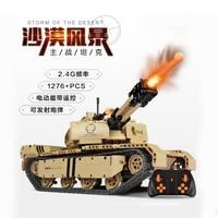 1276pcs Technic Military RC m1a2 tank blocks Main Battle tank bricks motorized tank building blocks toys remote control tank toy