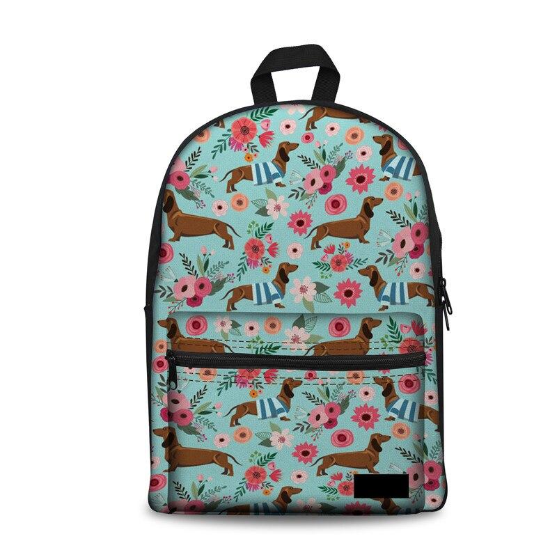Backpack Female Dachshund Flower Specialized School Backpacks For Girls Travel Women Laptop Pack Back Kpop Cute Rucksack
