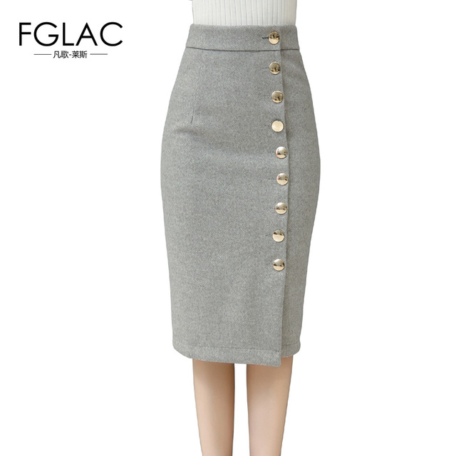 FGLAC New 2016 Winter Thick women skirt Elegant Slim High waist button pencil skirts Plus size knee-Length office skirts