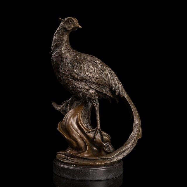 Bronze Pheasants Figurine Statues Park Garden Decor Peafowl Wildlife Outdoor  Sculptures American Pheasant