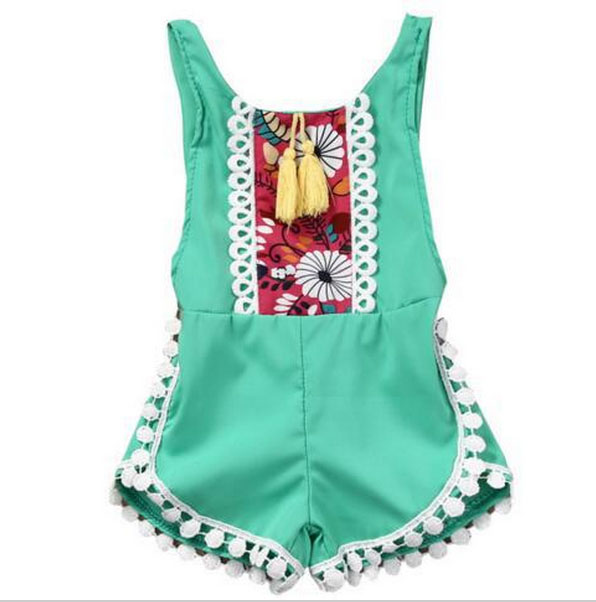 Summer Toddle kids Jumpsuit Clothes Sunsuit Outfits Baby Girl Sleeveless Lace Romper Lily printing