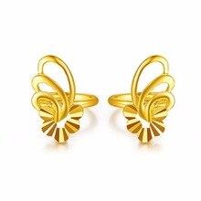Pure 24k Yellow Gold Earrings Women Luck Butterfly Flower Stud Earrings