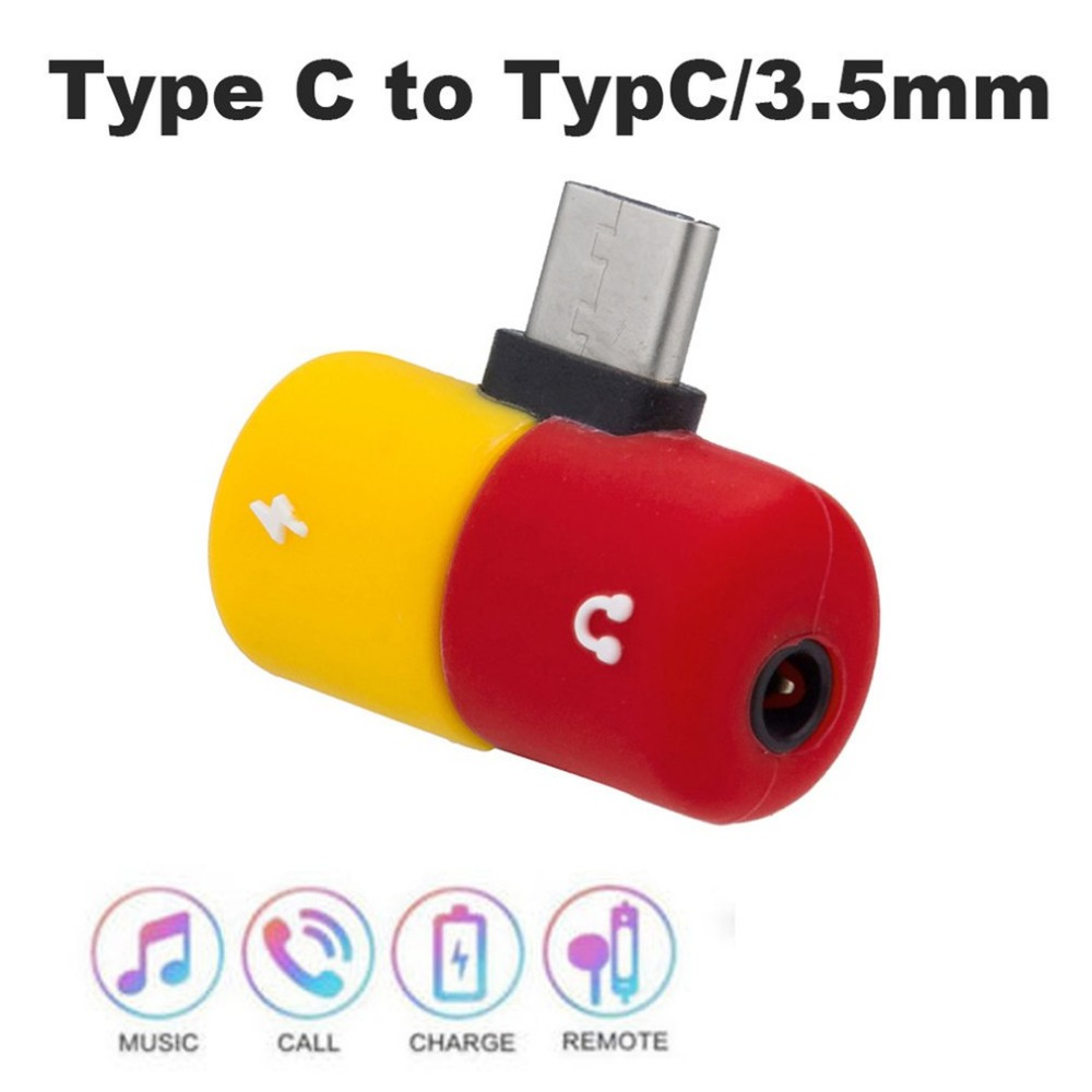Splitter Type C Capsule Pill Shape Fast Lighting Charging To Earphone 3.5mm Audio Cable Charger Adapter For Samsung Wireless Adapter