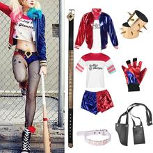 New Adult Cosplay Harley Quinn Ladies Costume Full Set Suicide Squad Womens Cosplays Accessories Party Halloween Costumes S-XXL