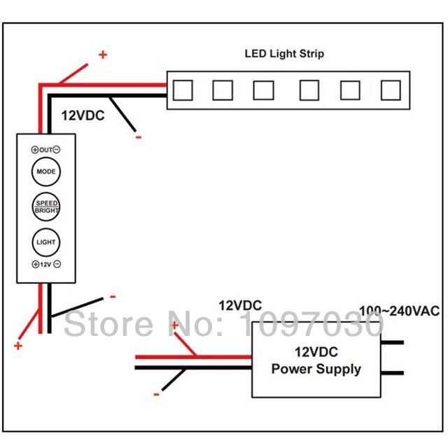100pcs 12 / 24V Mini In Line LED Light Strip Dimmer