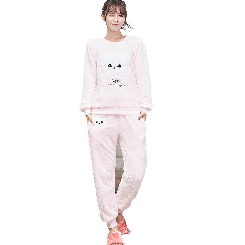 72e37dc4d Mulheres Pijama de flanela de Lã de Inverno Mulheres Pajama Define ...