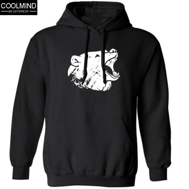 big size cotton blend mens sweatshirt fleece casual bear print men hoodies and sweatshirt with hat 2016 H01