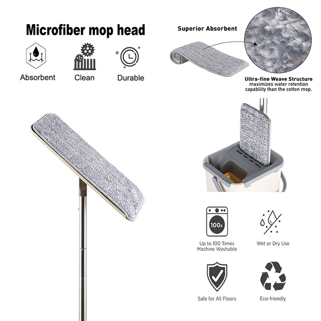 Innovative Easy Washing Stylish Mop – Self Wring  Microfiber Cleaning Cloth For Home