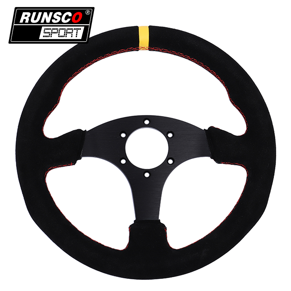 13.5inch 330mm OMP Style Racing Flat Steering Wheel Auto Universal Suede Leather Simulated Racing Game Steering Wheel RS6028