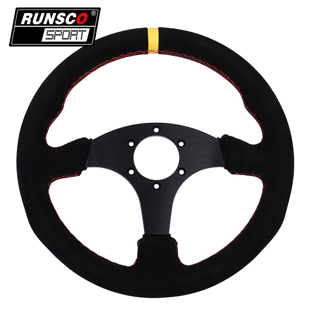 13.5 polegada 330 milímetros OMP Corrida Estilo Plano Suede Couro Volante Auto Universal RS6028 Simulado Racing Game Steering Wheel