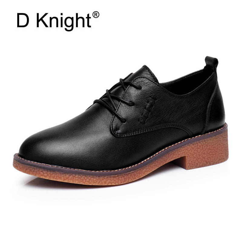 Oxfords Shoes Woman Lace-up Platform Brogues British Style Creepers Genuine Leather Office Lady Flats with Sewing Black Brown стоимость