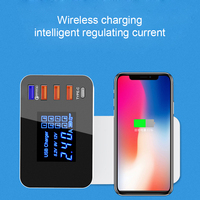 Quick Charge 3.0 Smart USB Type C Charger Station Led Display Phone Qi Wireless Charger Fast Charging Power Adapter Desktop