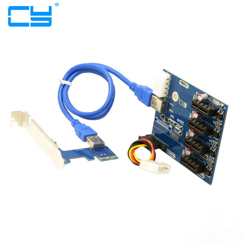 все цены на  1PCS PCI-e Express 1x to 4 Port 1x Switch Splitter Multiplier Hub Riser Card with USB 3.0 Cable  онлайн