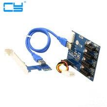1 UNIDS PCI-e Expresan 1x a 4 Puertos Interruptor 1x Tarjeta Vertical con Cable USB 3.0 Hub Divisor Multiplicador