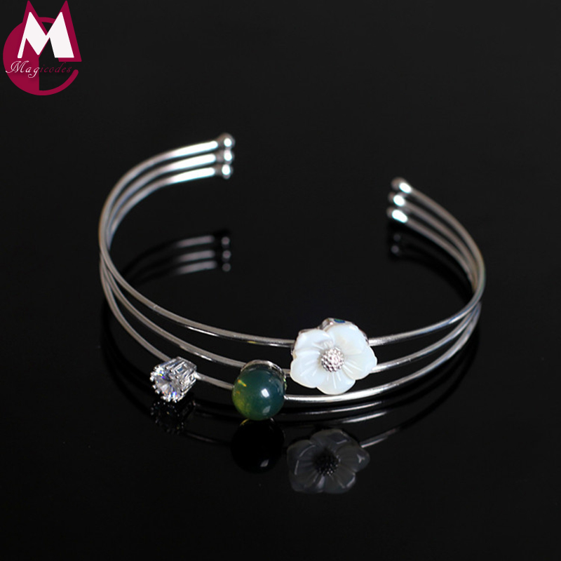 Mexico blue Perot Shell Flower Natural Crystal Bracelet For Women Simple 100% 925 Sterling Silver Bangle Party Gift Jewelry SB73Mexico blue Perot Shell Flower Natural Crystal Bracelet For Women Simple 100% 925 Sterling Silver Bangle Party Gift Jewelry SB73