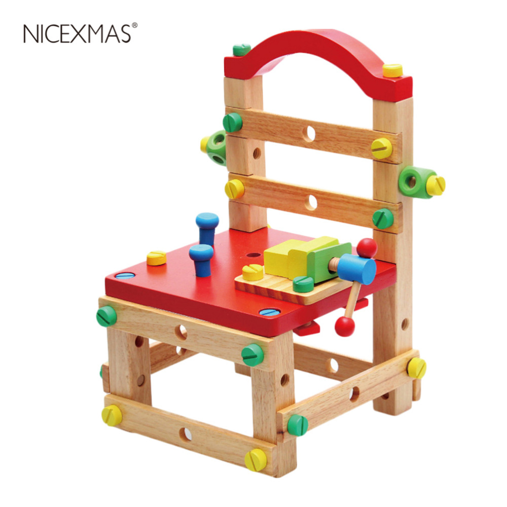 1pcs Creative DIY Dismounting Chair Combination Toy Colorful Wooden Arts & Crafts DIY Toys Gift For Baby Kids