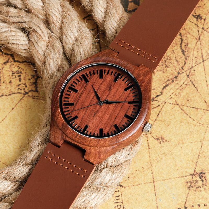 2017 Natrual Drewniany zegarek na rękę Analogowy zegar męski - Męskie zegarki - Zdjęcie 5