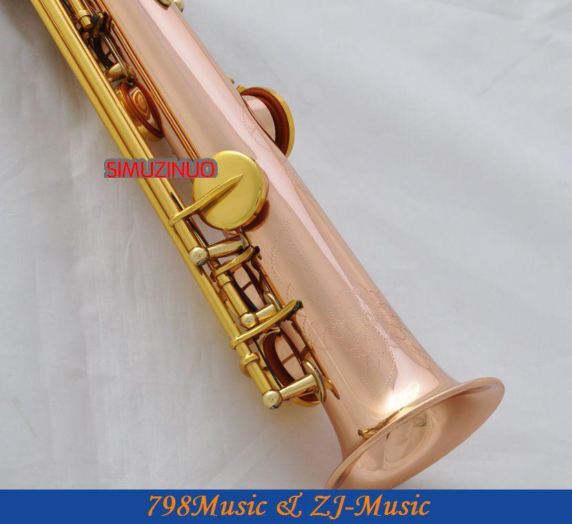 Profesionální růžová mosaz Sopranino Sax Eb saxofon Abalone Shell Key s pouzdrem