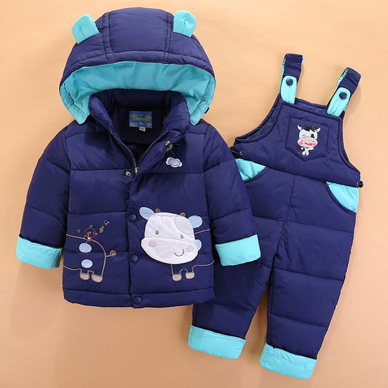 Cartoon Hooded Jacket Overalls for Newborns Boy Fashion Warm Winter Childrens Boy Clothing Set Coat+Pant Snow suit High Quality