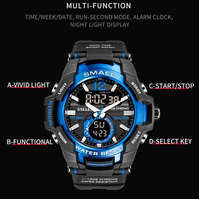 Smael 2020 relógios masculinos moda esporte super legal quartzo led relógio digital 50 m relógio de pulso à prova dwaterproof água relógio masculino 3