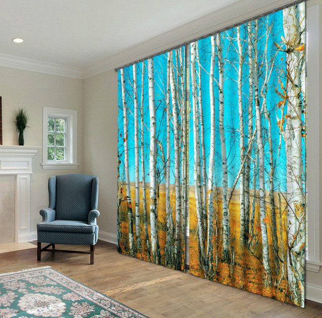 Landscape Printing 3 D Curtain Photo Fabrics Custom Blackout Fabric Digital Printed