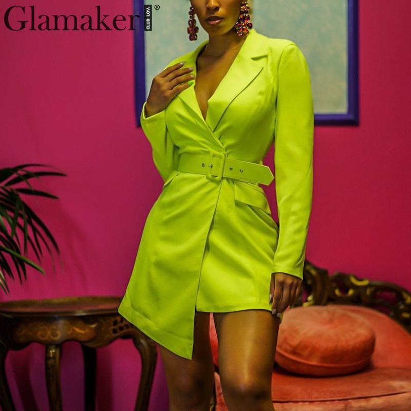 Glamaker V Neck Irregular Skinny Female Blazer Elegant Belt Neon Green Mini Blazer Dress Women Streetwear Party Blazer Jacket