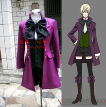 Black Butler Alois Trancy  purple suit anime Cosplay Costume for Women 4 in1 shirt+coat+ waistcoat short+ pants