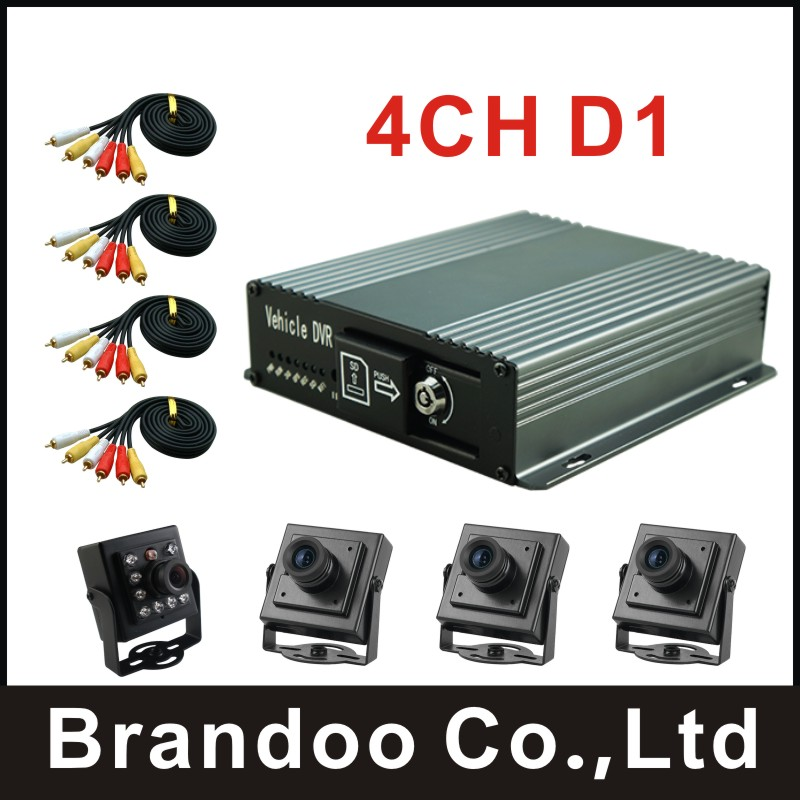 Cheap DIY 4 channel CAR DVR kit with 4 cameras and video cables for taxi bus