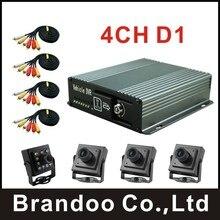 Barato DIY kit de 4 canales DVR COCHE, con 4 cámaras y video cables, para taxi, autobús utilizado, brandoo.