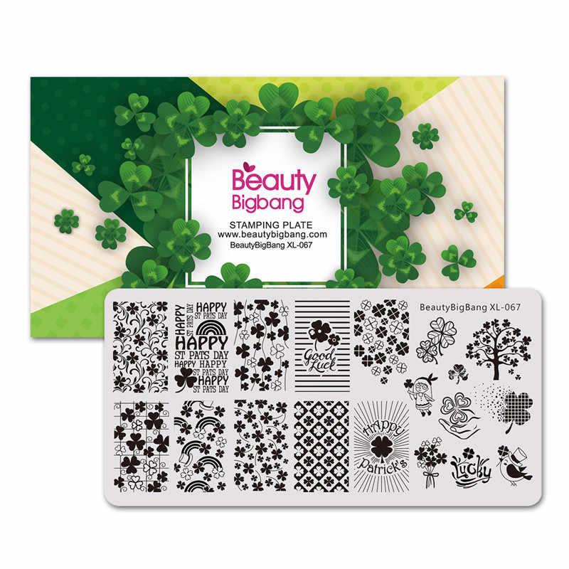Beautybigbang folha de flor imagem prego placas de carimbo modelo diy arte do prego aço inoxidável estênceis ferramenta