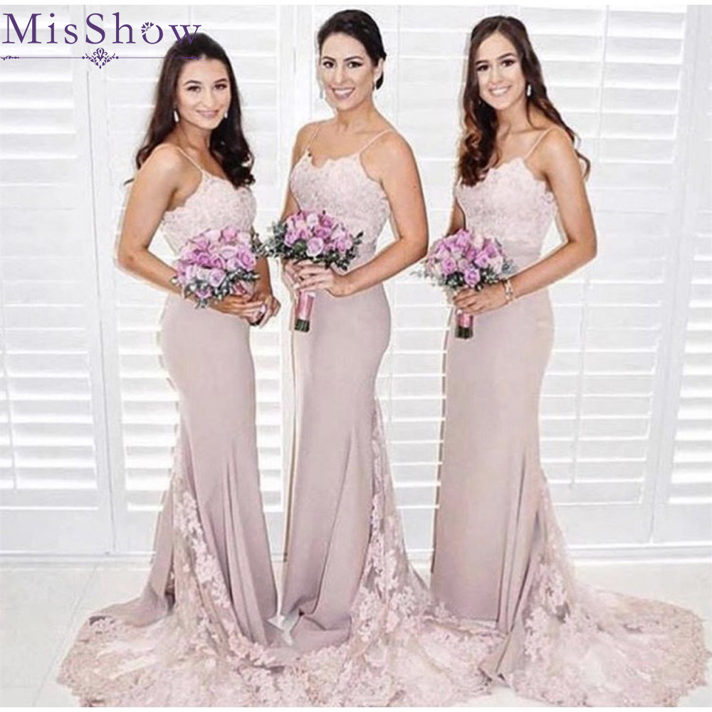 Pink Stretchy Satin Mermaid Bridesmaid Dresses For Women  Sexy 2019 Backless Maid Of Honor Dress Wedding Guest Party Dresses