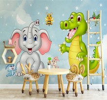Custom Mural Wallpaper 3D HD Cartoon Elephant Dinosaur Children Room Bedroom Background Wall Decoration Wall Painting Wallpaper custom cars painting a large mural 3d wallpaper cartoon city theme children s room bedroom 3d wallpaper backdrop videos