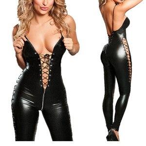 Image 2 - Costume de combinaison Lingerie en PVC pour femmes, noir, Sexy, avec fermeture éclair en Latex, tenue entrejambe, Clubwear érotique, grande taille, collection M 3XL