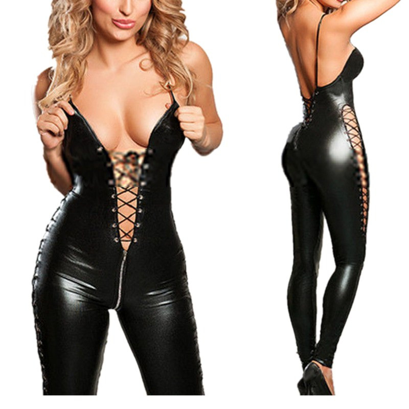 Image 2 - Women Sexy Lingerie Catsuit PVC Leather Ladies Black Sexy Latex Zipper Crotch Bodysuit Costume Erotic Clubwear Plus Size M 3XLlingerie catsuitbodysuit costumewomens lingerie leather -