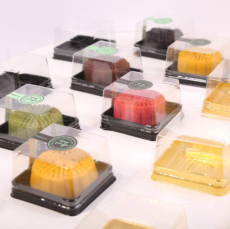 1000pcs Wholesale,free shipping, 50g moon cake trays moon cake packaging boxes Gold plastic bottom transparent cover water chestnut cake