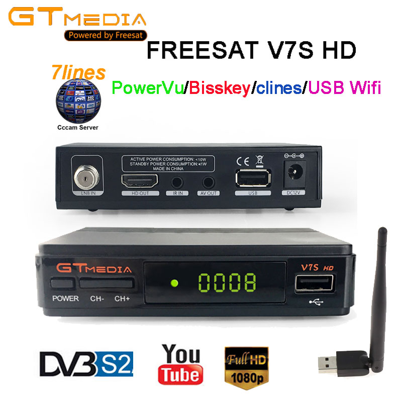 FREESAT V7S HD Satellite TV Receiver Receptor with 1 year 7lines cccam Europe Cline youtube powervu bissskey Spain,Portugal,UK 2018 new 5 lines cccam cline for 1 year europe spain portugal for freesat v8 super v7 hd iks receptor satellite receiver etc