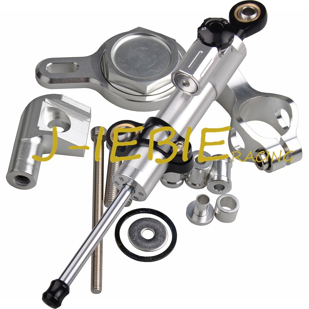 CNC Steering Damper Stabilizer and Silver Bracket Mounting For Yamaha YZF R1 1999-2005 2000 2001 2002 2003 2004CNC Steering Damper Stabilizer and Silver Bracket Mounting For Yamaha YZF R1 1999-2005 2000 2001 2002 2003 2004