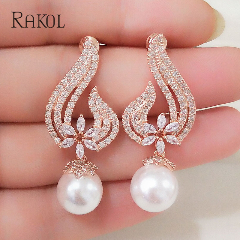 RAKOL Vintage CZ Crystal Imitation Pearls Heart Flower Bridal Wedding Drop Earrings For Women Rose Gold Color Gift Jewelry RE355(China)