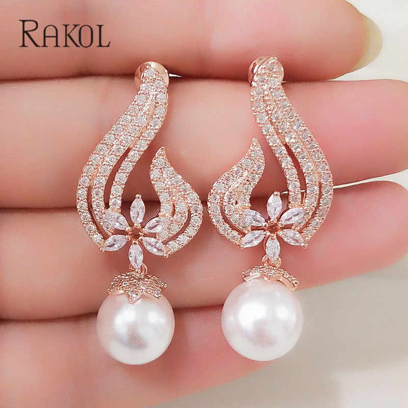 RAKOL Vintage CZ Crystal Imitation Pearls Heart Flower Bridal Wedding Drop Earrings For Women Rose Gold Color Gift Jewelry RE355