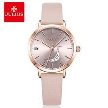 Reloj multifunción para mujer, reloj de cuarzo japonés, elegante pulsera de cuero, Reloj sencillo, regalo de cumpleaños para niña Julius Box 1076