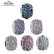 6 Colores Brillantes Gotas de Encantos de Plata de ley 925 Bolas De Cristal De Piedra Para Shealia Pulseras de La Joyería Diy Accesorios
