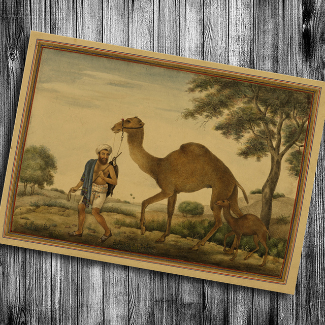 Hot sale India camel print painting kraft paper vintage home decor
