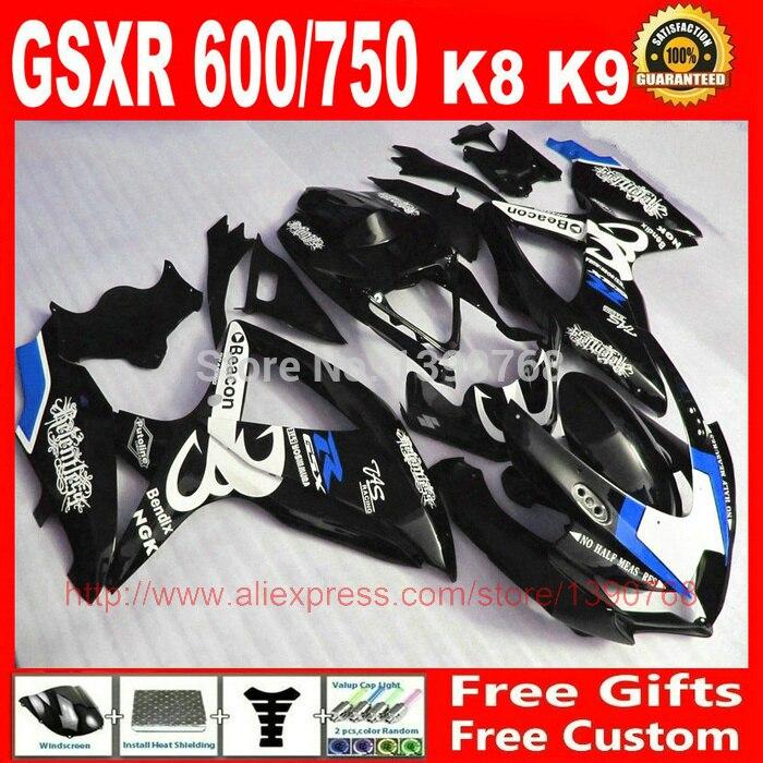 Fairing kit for Suzuki 08 09 10 GSXR 600 750 K8 K9 GSXR600 GSXR750 2008 2009 2010 black white Beacon fairings set BM95