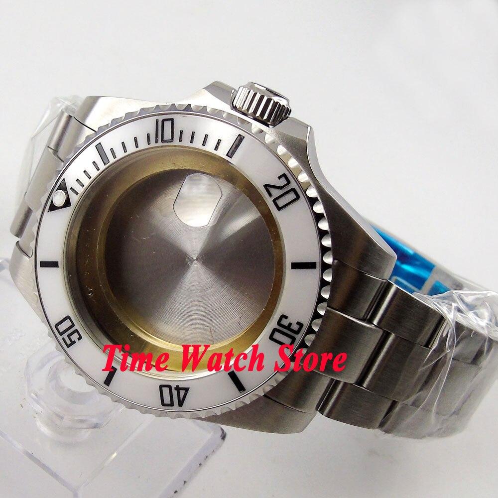 43mm white ceramic bezel Sapphire glass Watch Case with bracelet fit ETA 2824 2836 movement 65 цена и фото
