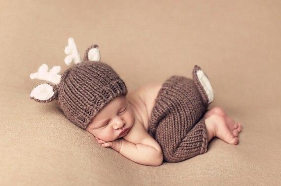 b5e043fc939 Coffee Color Crochet Cartoon Deer Animal Costumes Set Knitted Baby ...